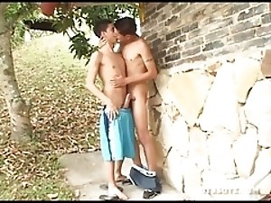 Young Latinos Miguel and Ferdynan Fuck Raw Outdoors