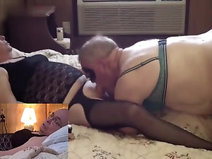 Mature Crossdresser blowjob ends in a sloppy snowball kiss