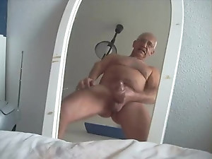 German grandpa wanking on mirror