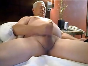 Silver haired daddy stroking his meat blows a huge load