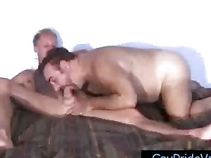 Blonde twink getting his dick sucked by old gay bear by gaypridevault