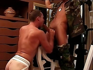 Hard gay soldier banging a colleagues ass