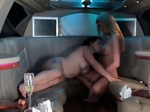 Sexy brunette getting fucked by a shemale in a limo