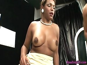 Busty shemale buttfucked by hard cock
