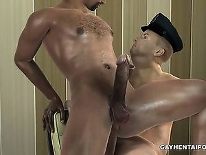 3D ebony stud and a cop taking turns fucking each other