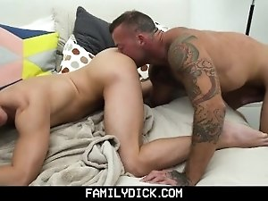 FamilyDick - Muscular Step Daddy Breeds His Boy's Tight Hole