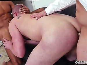 Nasty office boys have hardcore gay threesome after work